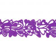 Лента из фетра фиолетовая с сердечками
