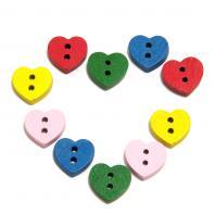 Пуговицы сердечки маленькие деревянные
