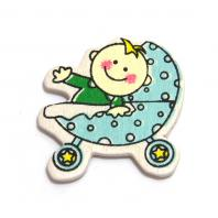 Липучка ребенок в голубой коляске