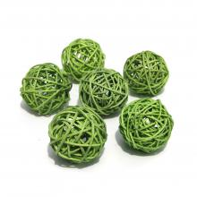 Шарики зеленые ротанговые