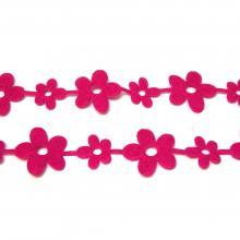 Розовая лента с цветочками из фетра