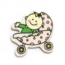 Липучка ребенок в коляске розовой