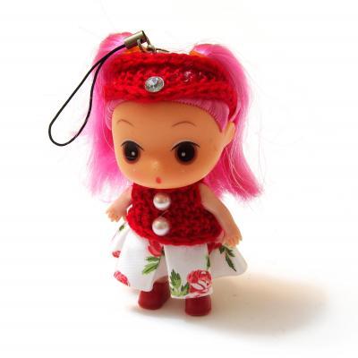 Куколка маленькая с розовыми волосами