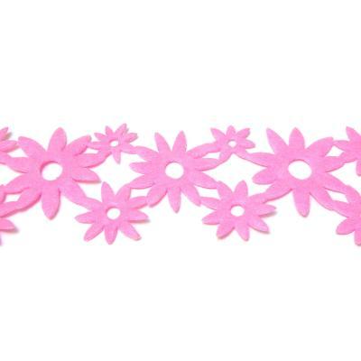 Розовая лента с цветочками из фетра для скрап