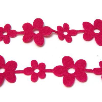 Лента из фетра розовые цветочки