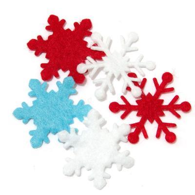 Снежинки цветные из фетра