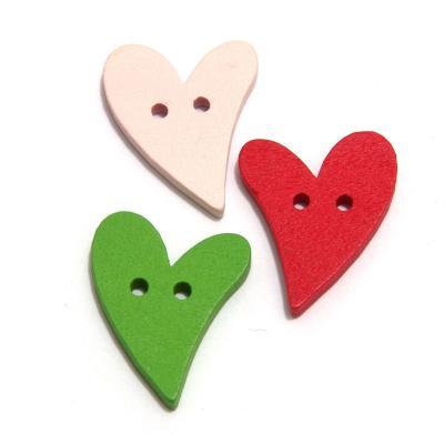 Пуговицы деревянные сердечки разноцветные