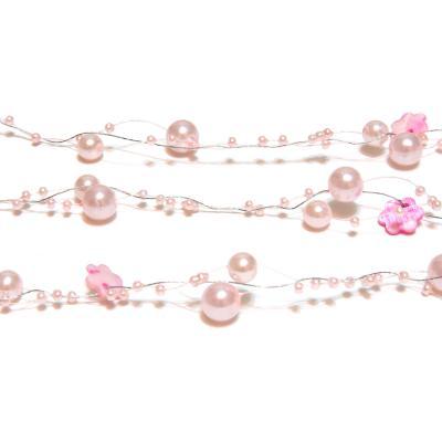 Гирлянда свадебная из бусин розовая