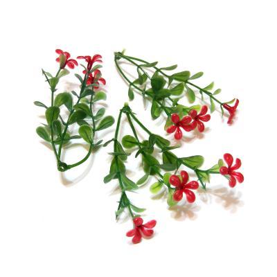 Веточка пластиковая с красными цветочками