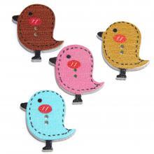 Птички пуговицы деревянные фигурные