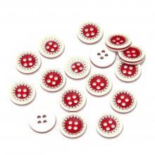 Красно-белые пуговицы пластиковые
