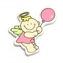 Ангелочек с розовым шариком липучка