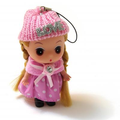 Куколка в розовом для сумочки брелок