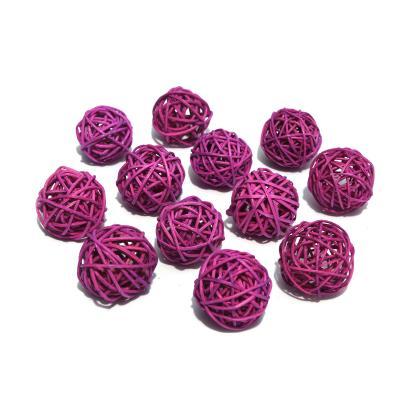 Шарики из ротанга маленькие розовые