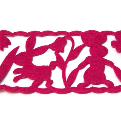 Лента пасхальная розовая с зайчиками