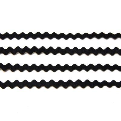 Черная тесьма из фетра волнистая тонкая