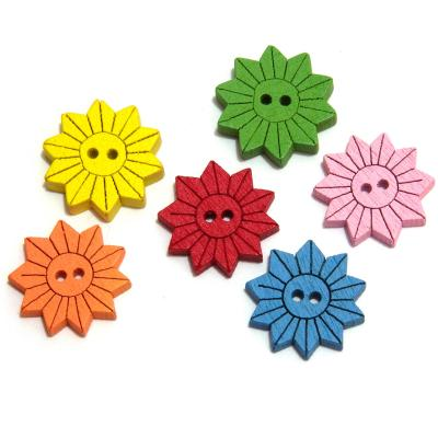 Пуговицы деревянные цветочки