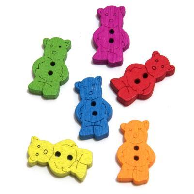 Пуговицы мишки разноцветные маленькие
