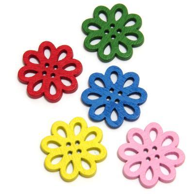 Цветочки пуговицы деревянные
