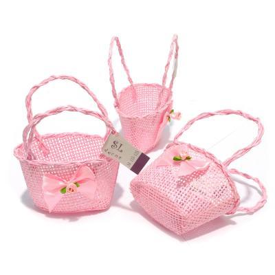 Корзинка розовая овальная для декора