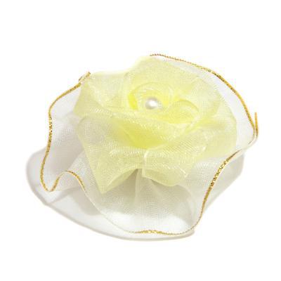Головка розы из органзы кремовая