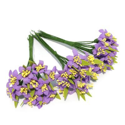 Фиолетовые цветочки мини из пенки