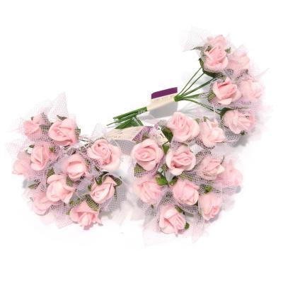 Миниатюрные розочки мини розовые с гипюром