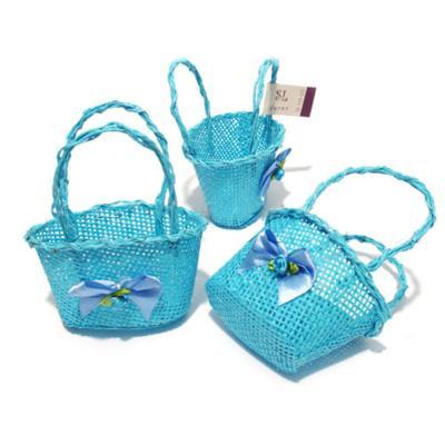 Корзинка для декора голубая