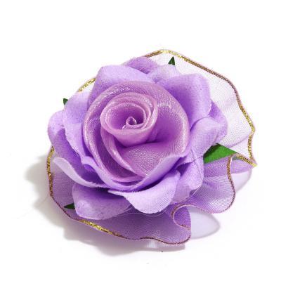 Головки цветов из ткани фиолетовые
